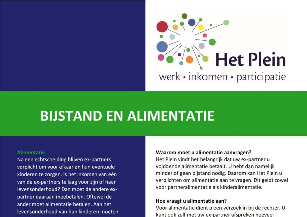 Informatiefolder bijstand en alimentatie op taalniveau B1, geschreven voor Het Plein in Zutphen