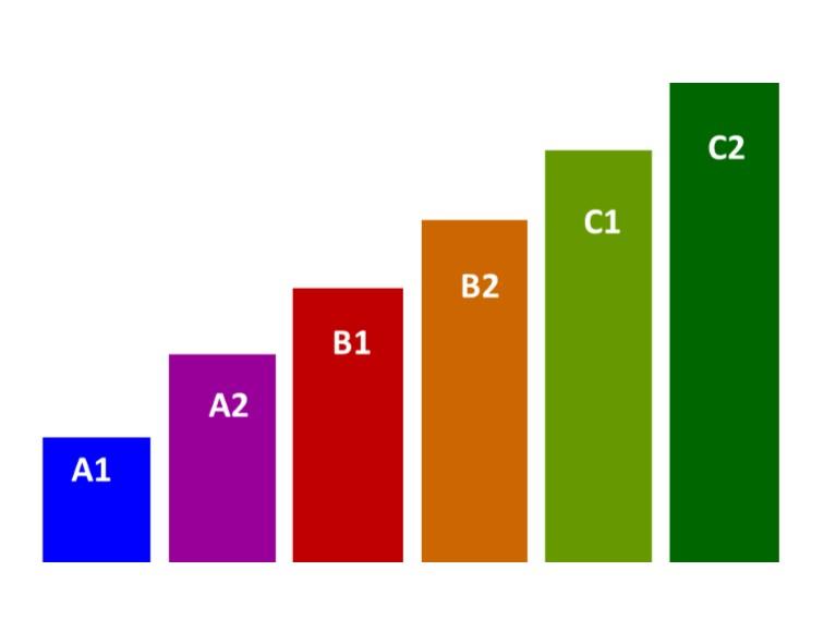 Taalniveaus volgens het Europees Referentiekader, vastgesteld door de  Raad van Europa.